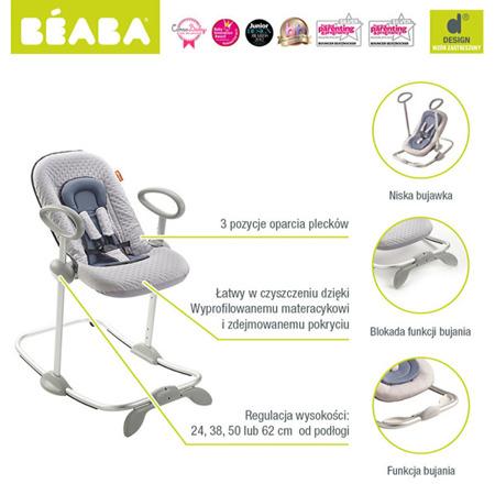 """Leżaczek dla niemowląt i małych dzieci niebieski, """"Bouncer Up&Down II"""" Beaba"""