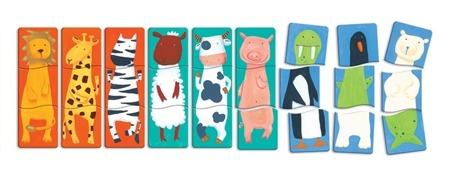 Drewniane puzzle 3 elementowe Zwierzaki - zestaw 27 puzzli, DJECO