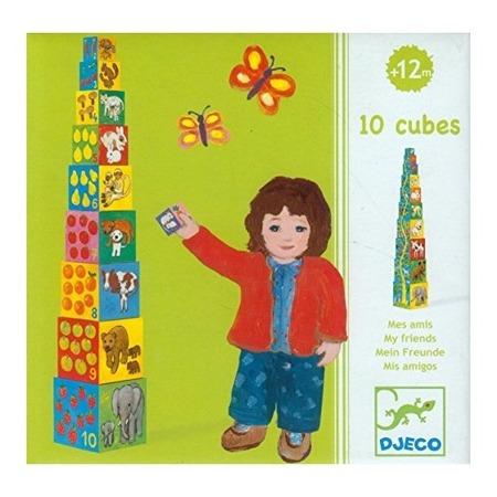 """Wieża z klocków - wysoka piramida """"Moi Przyjaciele"""", zwierzęta - 10 klocków, DJECO"""