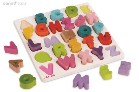 Alfabet puzzle drewniane - nauka literek dla dzieci, Janod