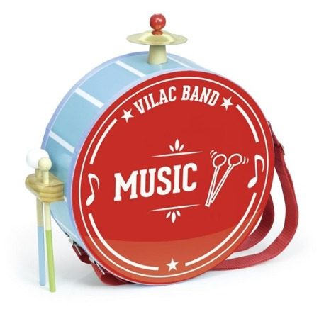 Bębenek - zestaw przenośnych instrumentów, człowiek orkiestra, 3+, VILAC