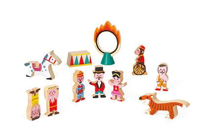 Cyrk zestaw drewniany 11 elementów kolekcja Story - odgrywanie ról, JANOD