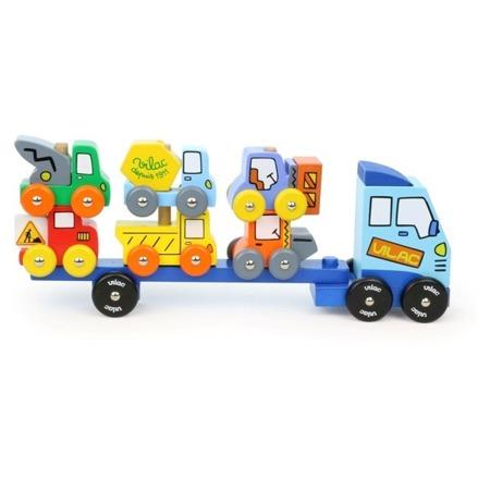 Drewniana ciężarówka z autkami - nakładane pojazdy, układanka, nakładanka samochody, VILAC