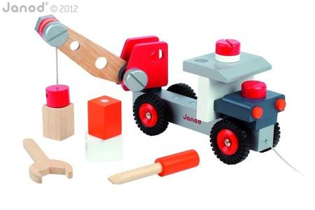 Drewniana ciężarówka z dźwigiem do składania - duża ciężarówa, Janod