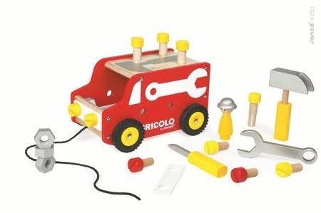 Drewniana ciężarówka z narzędziami do ciągnięcia Bricolo - samochód ciężarowy dla majsterkowicza, Janod