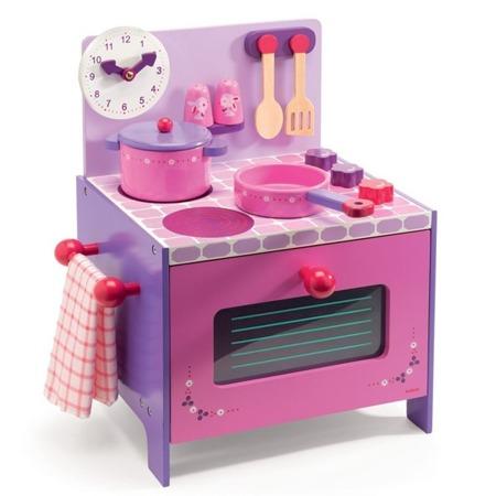 Drewniana kuchenka dla dzieci - kuchnia do zabawy z akcesoriami, DJECO Fioletowa/Różowa