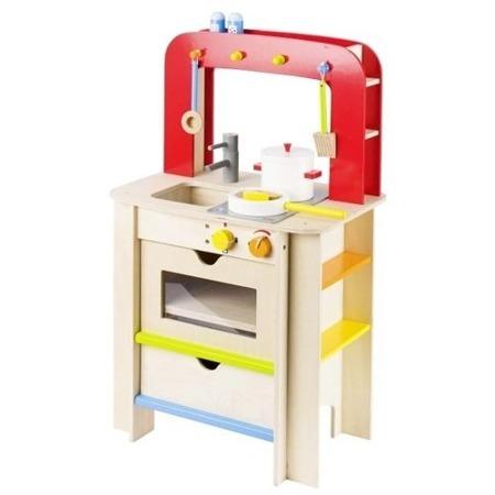 Drewniana kuchnia dla dzieci - duża kuchenka z dodatkami, czerwony design, GOKI