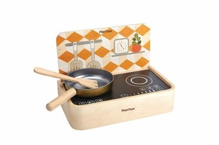 Drewniana kuchnia przenośna - kuchenka dla dzieci, dwa palniki, Plan Toys
