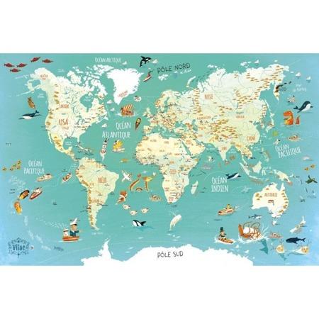 Drewniana mapa świata - puzzle magnetyczne z drewna 78 el. 5+, VILAC