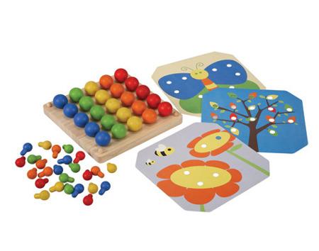 Drewniana mozaika - drewniana plansza z obrazkami i kołeczkami, Plan Toys