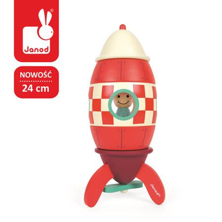 Drewniana rakieta magnetyczna DUŻA - składana rakieta za pomocą magnesów, Janod
