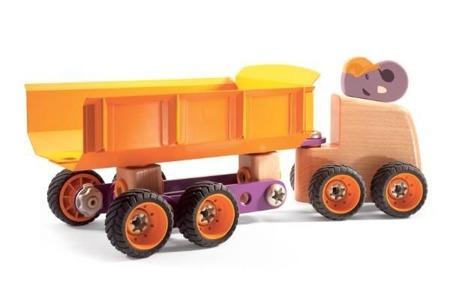 Drewniana skręcana ciężarówka Słoń - ciężarówka do skręcania z serii ZooBlock, Djeco