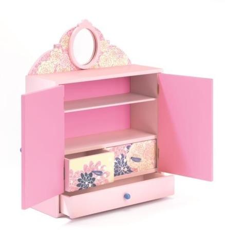 Drewniana szafeczka na biżuterię dla dziewczynki BIRDS, DJECO DJ06587