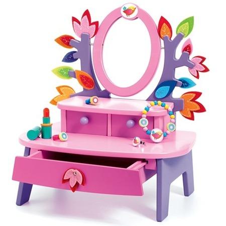 Drewniana toaletka dla dziewczynki - toaletka dziecięca z akcesoriami, DJECO