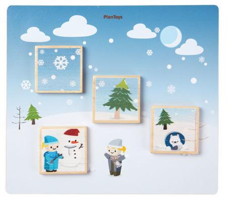 """Drewniana układanka """"Dopasuj pory roku"""" - nauka pór roku dla dzieci, Plan Toys"""