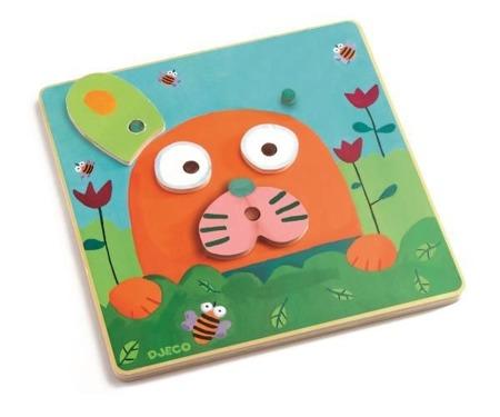 Drewniana układanka - Twoje zwierzątko - odwzorowywanie z kart dla maluchów, DJECO DJ01685