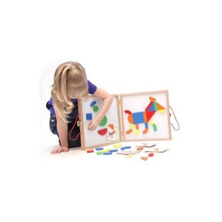 Drewniana układanka magnetyczna Geoform - układanka figury geometryczne + karty, Djeco