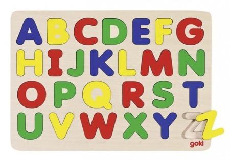 Drewniana układanka z alfabetem literki A-Z - nauka liter 26 el., GOKI GK601