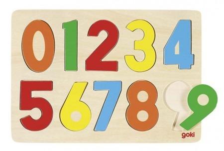 Drewniana układanka z cyframi 0-9, - nauka liczenia do dziesięciu, 10 el. GOKI GK602