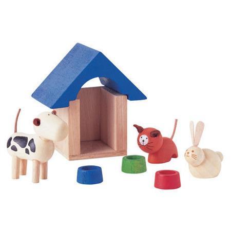 Drewniane akcesoria dla lalek Zwierzątka domowe, Plan Toys