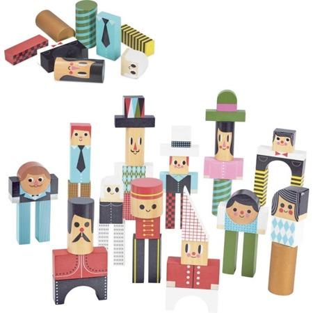 Drewniane klocki LUDZIE - zestaw 50 kolorowych klocków, 3+, VILAC