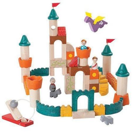 Drewniane klocki ZAMEK - klocki fantazyjne zestaw: król, królowa, smok i inne akcesoria, Plan Toys