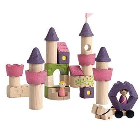 Drewniane klocki ZAMEK księżniczki - klocki fantazyjne zestaw: książe, księżniczka, kareta i inne akcesoria, Plan Toys