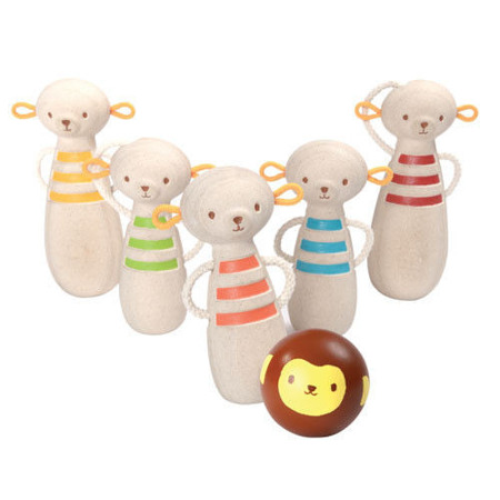 Drewniane kręgle małpki - zabawka zręcznościowa dla najmłodszych, Plan Toys