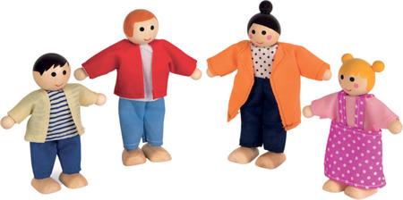 Drewniane lalki do domku dla lalek - rodzina lalek, 4 laleczki, 3+, JANOD