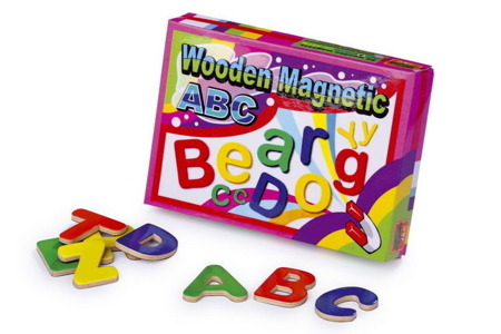 Drewniane literki magnetyczne dla dzieci 4-5 cm do nauki alfabetu 50 szt.