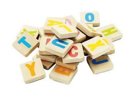 Drewniane literki na klockach - zestaw 40 magnetycznych liter, ALFABET