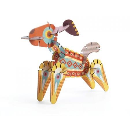 Drewniane puzzle Volubo 3D zwierzątka - kreatywne zwierzęta, DJECO DJ05630
