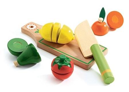 Drewniane warzywa do krojenia - zestaw warzyw z deską i nożem DJECO