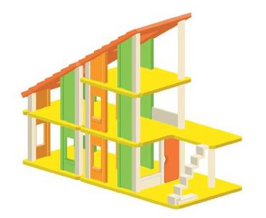 Drewniany domek dla lalek z mebelkami - Plan Toys, domek wielowariantowy