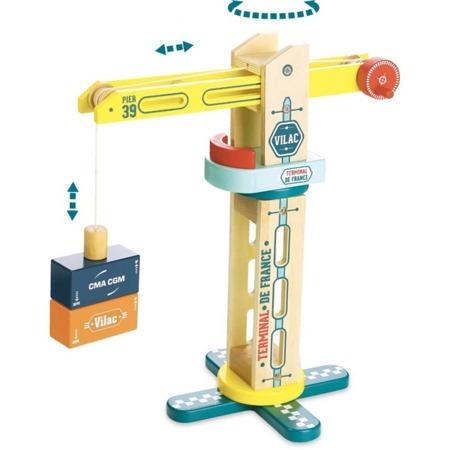 Drewniany dźwig dla dzieci - dźwig zabawkowy z akcesoriami, VILAC