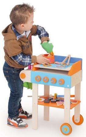 Drewniany grill z kuchenką - kuchnia dla dzieci wesołe grillowanie 2w1 48 el., SEVI