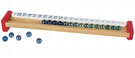 Drewniany kalkulator z kulkami dla dzieci do nauki liczenia (dodawania, odejmowania), GOKI