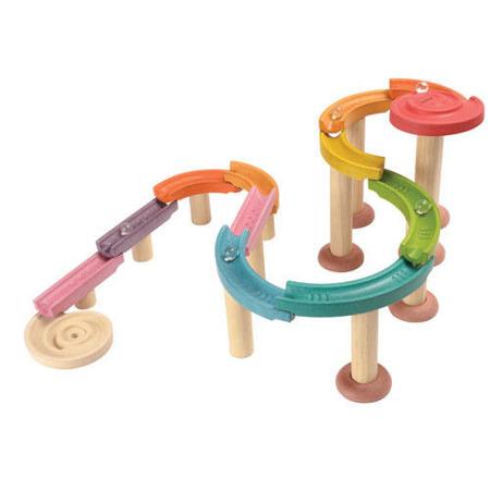 Drewniany kolorowy tor kulkowy (deluxe) - kulodrom zestaw 30 części, Plan Toys