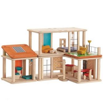 Drewniany, kreatywny domek dla lalek z mebelkami - Plan Toys