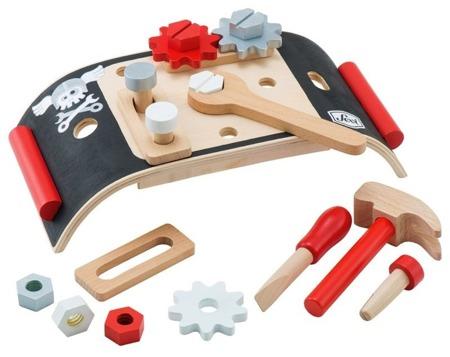 Drewniany mini warsztat z narzędziami - czarny stół warsztatowy, 15 el., SEVI 82951
