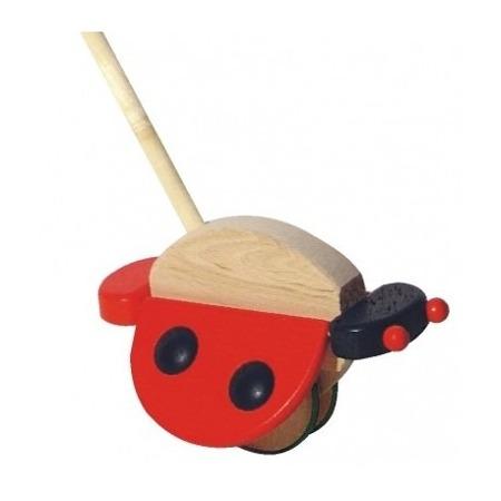 Drewniany pchacz - biedronka ze skrzydełkami do pchania dla dzieci, BAJO