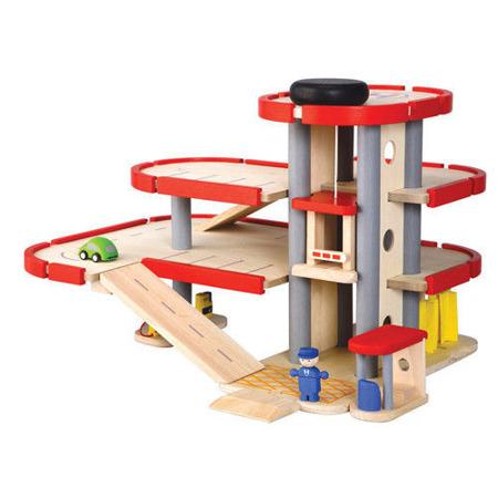 Drewniany piętrowy parking - garaż samochodowy i auta. Duży zestaw, Plan Toys