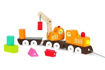 Drewniany pociąg z dźwigiem i klockami - zestaw  z pociągiem, Janod