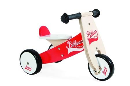 Drewniany rowerek trójkołowy 12m+ - rowerek biegowy dla niemowlaków, Janod