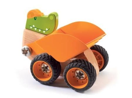 Drewniany skręcany spychacz Krokodyl - spychacz do skręcania z serii ZooBlock, Djeco