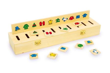 Drewniany sorter obrazków - pudełko do sortowania ubrań, figur, liczb itd. - 50 różnych płytek!