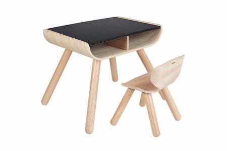 Drewniany stół i krzesełko - ekologiczne, modny design do pokoju dziecka, zestaw Plan Toys