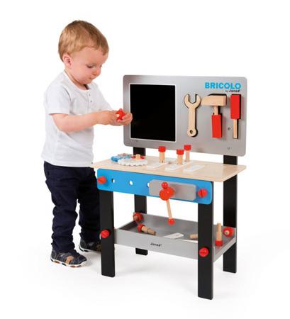 Drewniany warsztat dla dzieci magnetyczny z 24 elementami - warsztat majsterkowicza Bricolo, JANOD