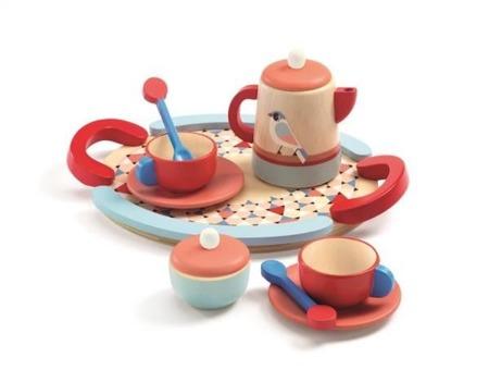 Drewniany zestaw śniadaniowy TEA TIME dla lalek, 3 lata +, DJECO DJ06512