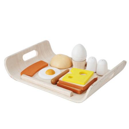 Drewniany zestaw śniadaniowy do zabawy - śniadanie na tacy, Plan Toys